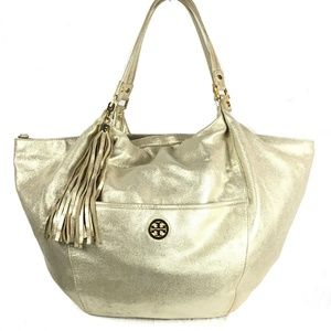 Tory Burch Dean Large Gold Leather Hobo Bag